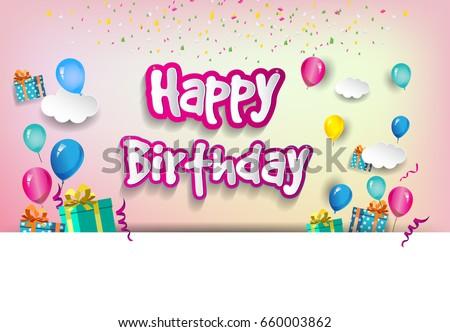 Happy Birthday Typography Vector Design Greeting Stock Vector
