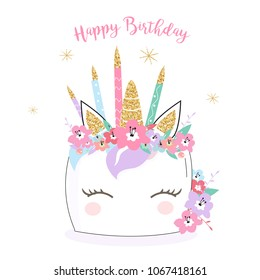 Happy Birthday unicorn cake card/ background in vector. Hand drawn doodle Illustration for mugs, invitations, cards.