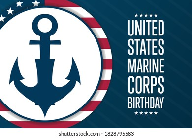 Happy Birthday United States Marine Corps. November 10. Holiday concept. Template for background, banner, card, poster with text inscription. Vector EPS10 illustration