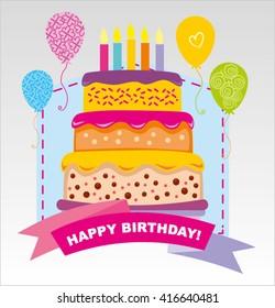 Happy birthday vector banner. Birthday cake.Vector illustration.