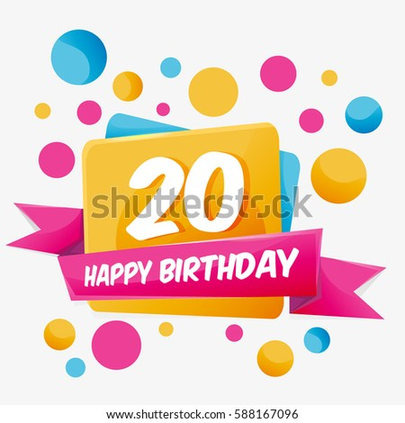 happy birthday vector card 20 year celebration greeting card with number happy anniversary 20