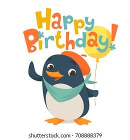 Happy birthday vector card. Baby birthday card with cute penguin