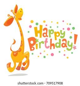 Happy birthday vector card. Baby birthday card with cute giraffe