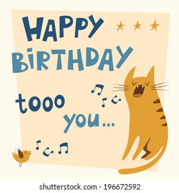 Happy Birthday Vector Card With A Cat