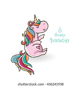 Happy Birthday! Vector card with a unicorn , rainbow , decoration elements and text with a cupcake . This illustration can be used as greeting card, poster or print