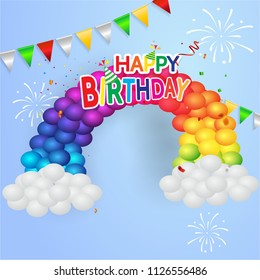 Happy birthday vector Celebration party banner Golden foil confetti and white and glitter Colorful balloons.