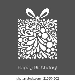 Happy Birthday. Vector decoration made from swirl shapes. Greeting, invitation card. Simple decorative gray and white illustration for print, web.