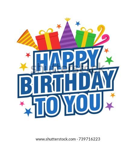 Happy Birthday Vector Design Background Greeting Stock Vector