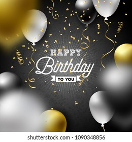 Happy Birthday Vector Design with Balloon, Typography and Falling Confetti on Dark Background. Illustration for birthday celebration. greeting cards or party poster.