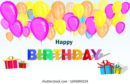 Happy birthday. It's a vector design for greeting cards, advertisements, publications, and posters with letters, balloons, gift boxes, and ribbons. design template for celebration.