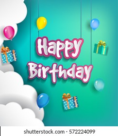Happy Birthday vector design for greeting cards with balloon and gift box, isolated with clouds on colorful background