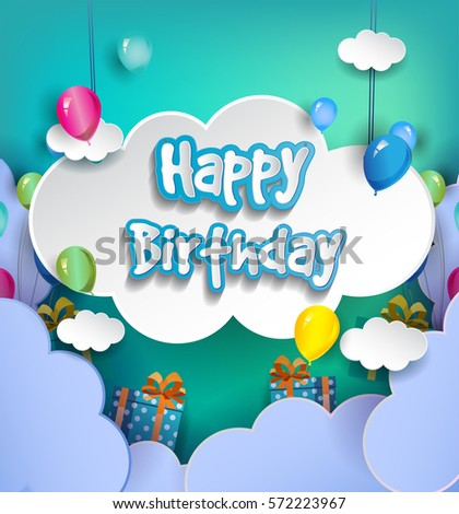 Happy birthday vector design greeting cards stock vector royalty happy birthday vector design for greeting cards with balloon and gift box isolated with clouds m4hsunfo