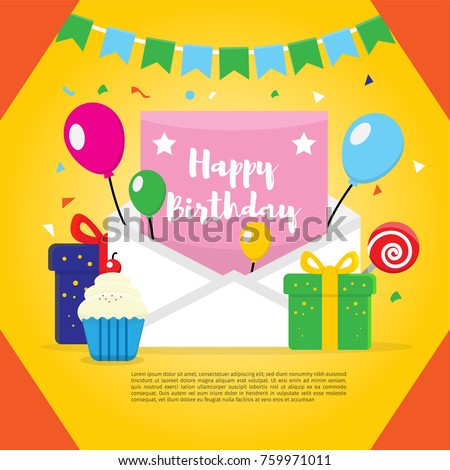 Happy Birthday Vector Design For Greeting Card Banner Sale Invitation Kids