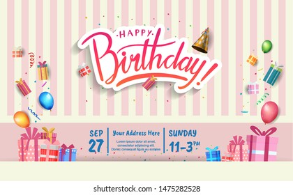 happy birthday vector design with typography and birthday element for celebration, background, template, invitation and greeting card