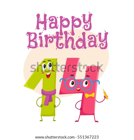 Happy Birthday Vector Greeting Card Poster Banner Design With Cute And Funny Fourteen Number