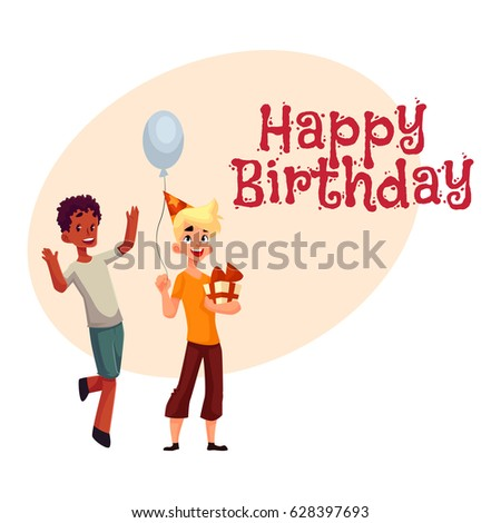 Happy birthday vector greeting card poster stock vector royalty happy birthday vector greeting card poster banner design with two boys at birthday party m4hsunfo