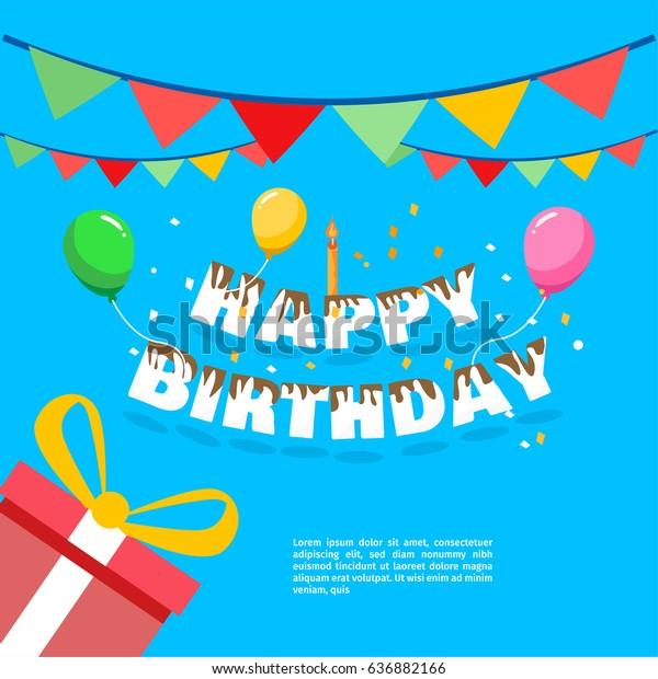 Happy Birthday Vector Greeting Card Website Stock Vector