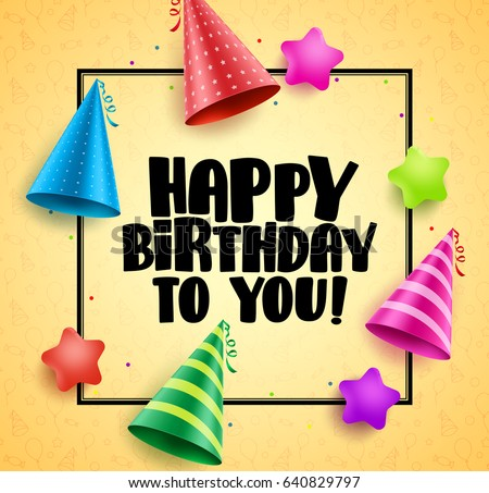 Happy Birthday Vector Greetings Card Design Stock Vector Royalty