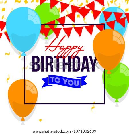Happy Birthday Vector Illustration Colorful Flat Stock Vector