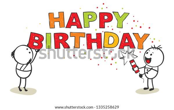 Happy Birthday Vector Illustration Funny Men Stock Vector Royalty Free 1335258629