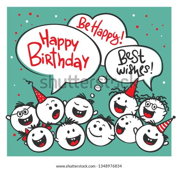 Happy Birthday Vector Illustration Funny Mens Stock Vector Royalty Free 1348976834
