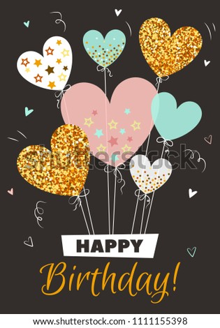 Happy Birthday Vector Illustration Golden Balloons In Form Of Heart Card With Glitter