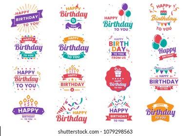 Happy Birthday Vector Logo for banner, poster, flyer