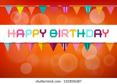 Happy Birthday Vector Party Card Design on Orange Background with Flags