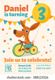 Happy birthday vector poster. Baby birthday invitation with cute puppy. Dog riding a bike. with a balloon.