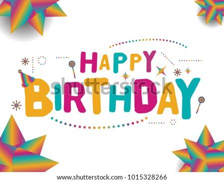 Happy Birthday Vector Template Design Colorful Stock Vector Royalty