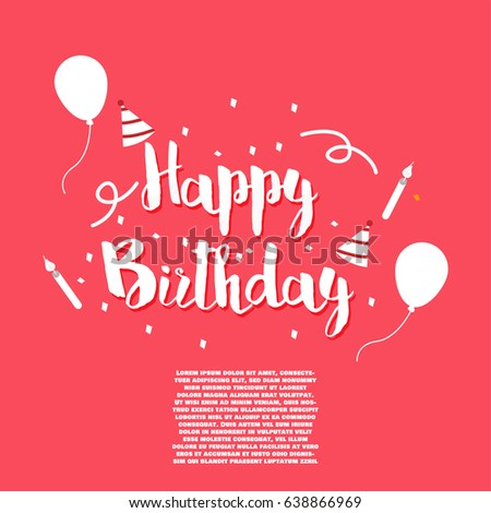 Happy Birthday Vector Template For Greeting Card Website Banner And Social Media