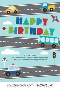 happy birthday vehicle card. vector illustration