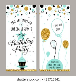 Happy birthday vertical invitation card with golden sparkle dots, balloon, cake, candle, star. Vector typography hand drawn lettering color illustration for celebrating date birth. Web or print design