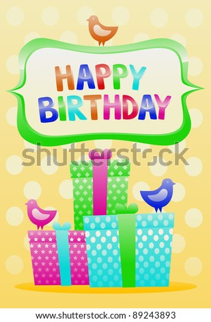 Happy Birthday Vintage Card Stock Vector Royalty Free 89243893