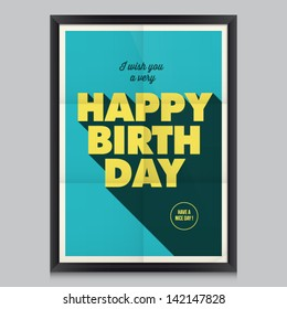 Happy birthday, vintage retro poster background with paper texture, frame and colors editable.