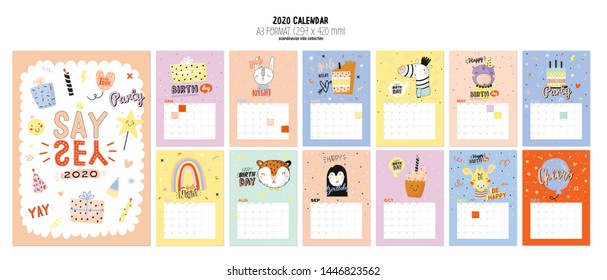 Happy Birthday wall calendar. 2020 Yearly Planner have all Months. Good Organizer and Schedule. Trendy party illustrations, lettering with holiday inspiration quotes. Vector background