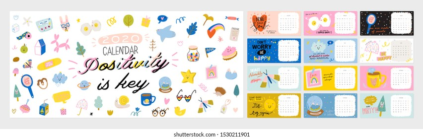 Happy Birthday wall calendar. 2020 Yearly Planner have all Months. Good Organizer and Schedule. Cute kids doodle illustration, Lettering with motivational and inspiration quotes. Vector background