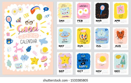 Happy Birthday wall calendar. 2020 Yearly Planner have all Months. Good Organizer and Schedule. Cute kids doodle illustration with motivational and inspiration quotes. Vector background