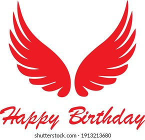 Happy Birthday with wings design