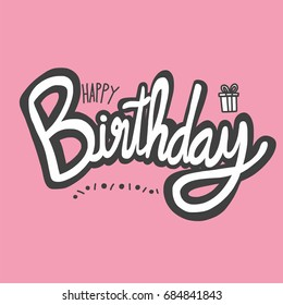 Happy Birthday word vector illustration on pink background