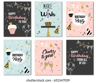 Happy birthday to you from all of us! Cheers to you! Greeting card and party invitation templates, vector illustration, pink, black, blue with golden glitter hand drawn style.