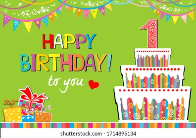 Happy birthday to you. Celebration green background with number one, Birthday cake, gift box, garland and place for your text. Horizontal card format for web banner or header. Vector