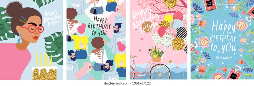 Happy Birthday to You! Cute vector illustration of a woman with flowers, a bicycle with balloons, young people and a floral frame for a poster, card, flyer or banner