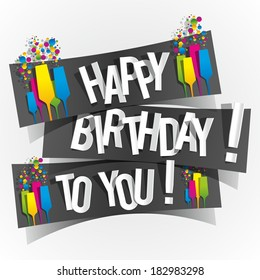 Happy Birthday To You Greeting Card vector illustration