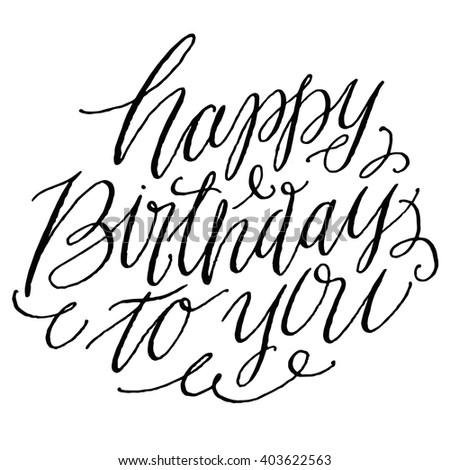 happy birthday you hand drawn script stock vector royalty free