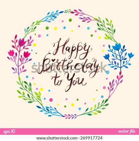 8e2a4bd51e09 Happy Birthday You Text Message Wreath Floral Stock Vector (Royalty ...