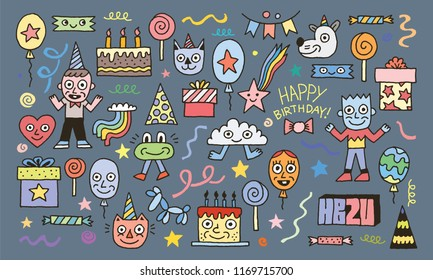 Happy Birthday To You! Wacky Doodle Characters Set 1 Color Vector Illustration
