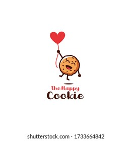 happy biscuits / cookies flying with heart shaped balloons character cartoon design illustration