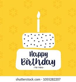 happy bithday card design with flat white cake shape
