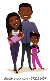 Happy black family couple with children isolated vector illustration. Husband, wife, daughter and baby cartoon characters. Smiling young people portrait, happy family with kids standing together.